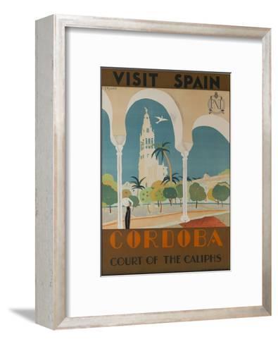 Visit Spain, Cordoba Court of the Caliphs Spanish Travel Poster--Framed Art Print