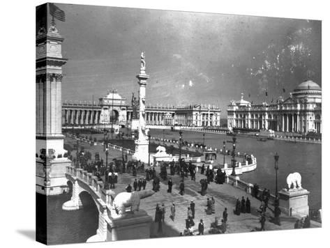 Visitors Strolling at Chicago Exposition--Stretched Canvas Print