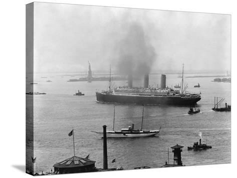 The S.S. Imperator in New York Harbor-A^ Loeffler-Stretched Canvas Print