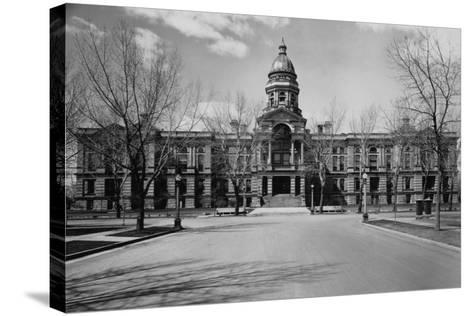 Capitol Building at the End of a Cheyenne Street--Stretched Canvas Print