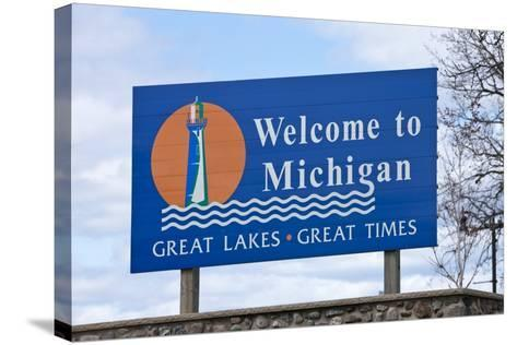 Welcome to Michigan Sign-Paul Souders-Stretched Canvas Print
