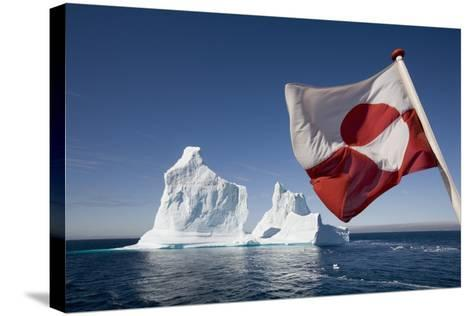 Greenland Flag on Arctic Umiaq Line Ferry-Paul Souders-Stretched Canvas Print