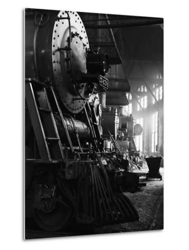 Locomotives in Roundhouse-Jack Delano-Metal Print