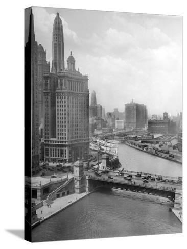 Downtown Chicago View Looking West, Ca. 1928--Stretched Canvas Print