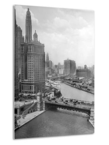 Downtown Chicago View Looking West, Ca. 1928--Metal Print