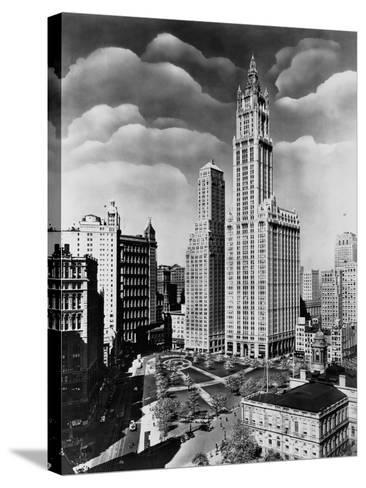 Woolworth Building and City Hall Park, Manhattan--Stretched Canvas Print