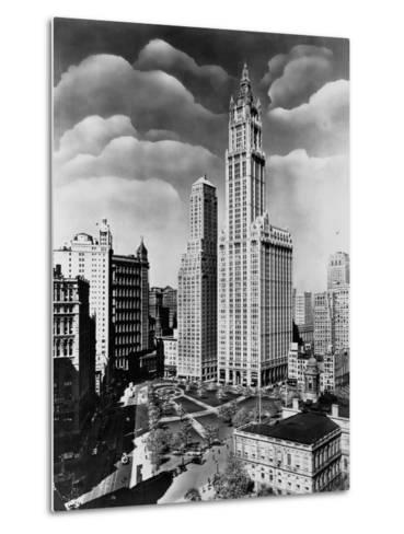 Woolworth Building and City Hall Park, Manhattan--Metal Print