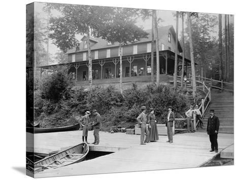 Boaters at Lake Lodge-Seneca Ray Stoddard-Stretched Canvas Print
