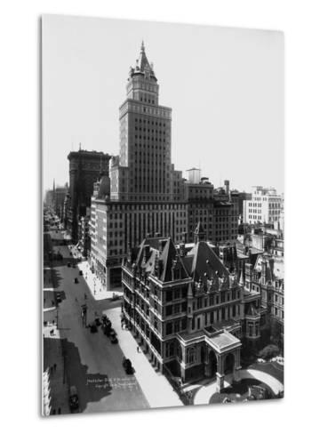 Aerial View of the Crown Building and Vanderbilt Mansion, New York-Irving Underhill-Metal Print