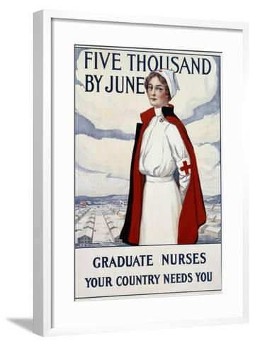 Five Thousand Nurses by June - Graduate Nurses Your Country Needs You Poster-Carl Rakeman-Framed Art Print