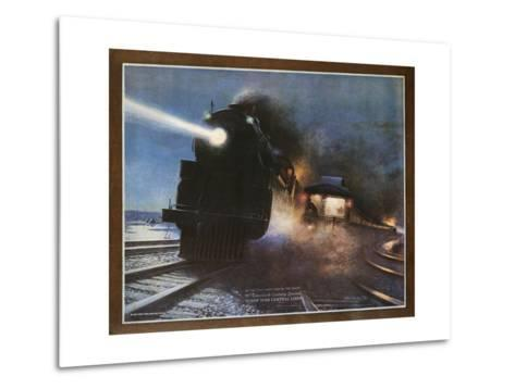Pass in the Night, the Twentieth Century Limited of the New York Central Lines Poster-W.H. Foster-Metal Print