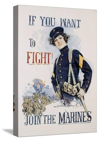 If You Want to Fight! Join the Marines Poster-Howard Chandler Christy-Stretched Canvas Print