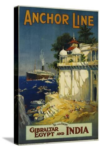 Anchor Line Travel Poster-W. Welsh-Stretched Canvas Print