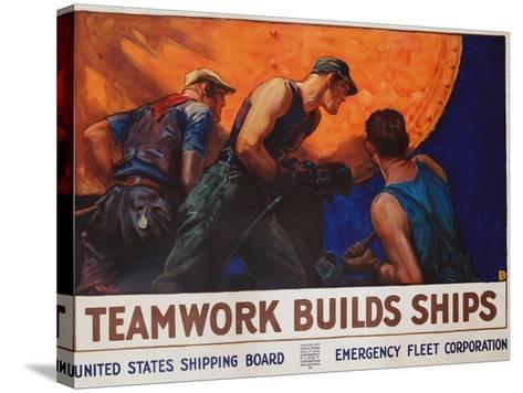 Teamwork Builds Ships Poster-William Dodge Stevens-Stretched Canvas Print