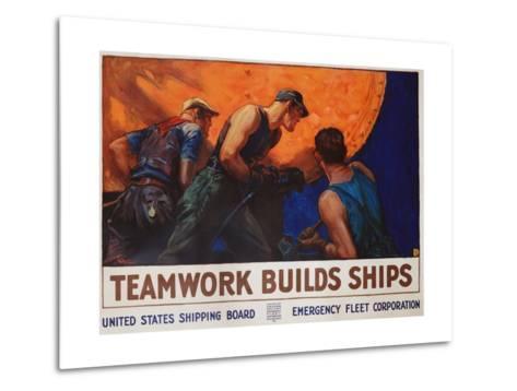 Teamwork Builds Ships Poster-William Dodge Stevens-Metal Print