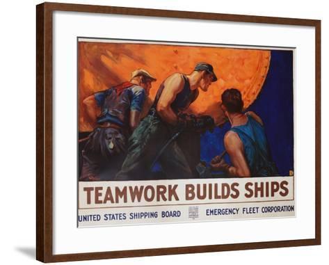Teamwork Builds Ships Poster-William Dodge Stevens-Framed Art Print