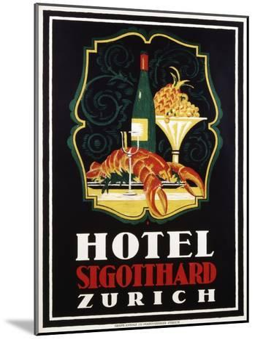 Hotel St. Gotthard Zurich Poster-Otto Baumberger-Mounted Giclee Print