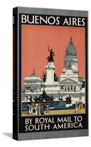 Buenos Aires by Royal Mail to South America Poster-Kenneth Shoesmith-Stretched Canvas Print