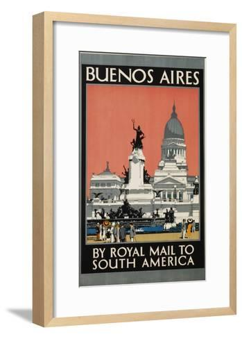 Buenos Aires by Royal Mail to South America Poster-Kenneth Shoesmith-Framed Art Print