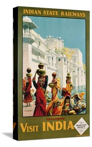 Visit India - Indian State Railways, Udaipur Poster-W^S Bylityllis-Stretched Canvas Print