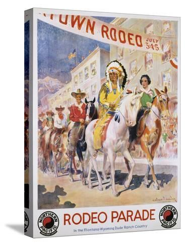 Rodeo Parade Northern Pacific Railroad Poster-Edward Brener-Stretched Canvas Print