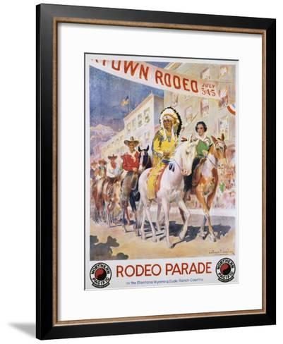 Rodeo Parade Northern Pacific Railroad Poster-Edward Brener-Framed Art Print