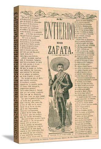 Broadside with Burial of Emiliano Zapata--Stretched Canvas Print