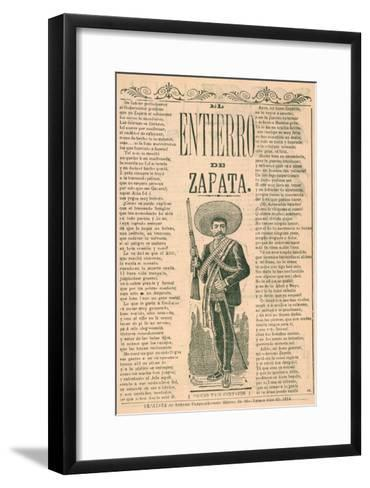 Broadside with Burial of Emiliano Zapata--Framed Art Print
