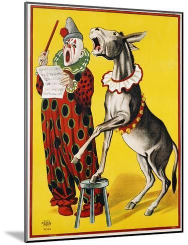 Poster Depicting a Clown and Donkey Singing--Mounted Giclee Print