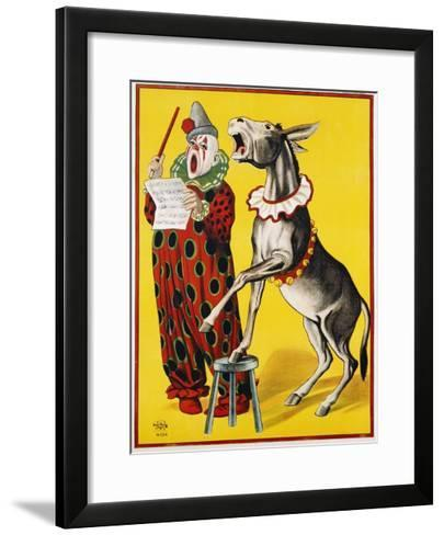 Poster Depicting a Clown and Donkey Singing--Framed Art Print