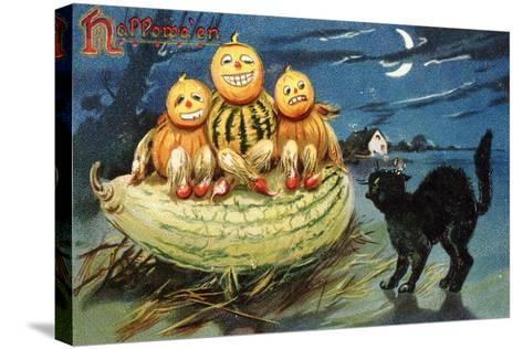 Hallowe'en Postcard with Jack-O'-Lanterns--Stretched Canvas Print