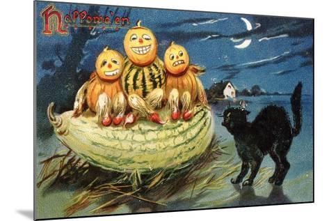 Hallowe'en Postcard with Jack-O'-Lanterns--Mounted Giclee Print