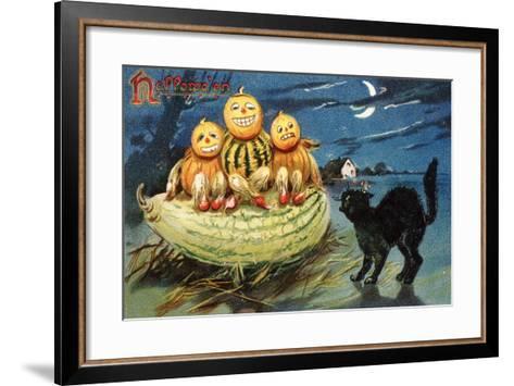 Hallowe'en Postcard with Jack-O'-Lanterns--Framed Art Print