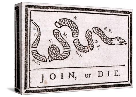 Join or Die Political Cartoon-Benjamin Franklin-Stretched Canvas Print