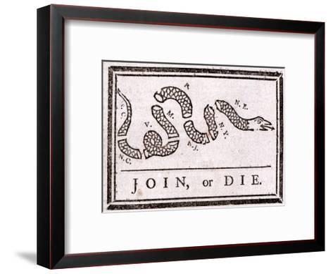 Join or Die Political Cartoon-Benjamin Franklin-Framed Art Print