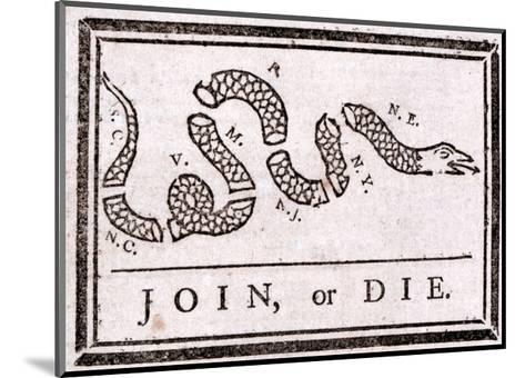 Join or Die Political Cartoon-Benjamin Franklin-Mounted Giclee Print
