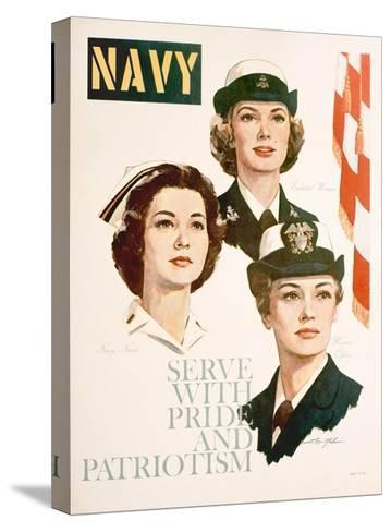 Navy - Serve with Pride and Patriotism Recruiting Poster--Stretched Canvas Print