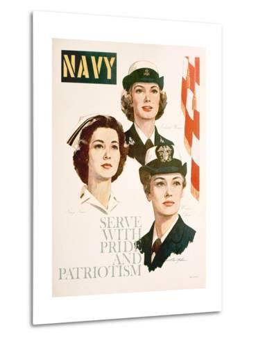 Navy - Serve with Pride and Patriotism Recruiting Poster--Metal Print