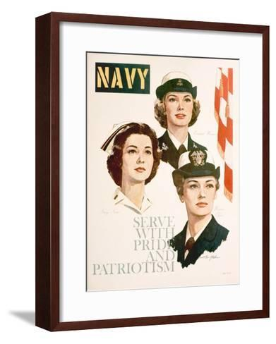 Navy - Serve with Pride and Patriotism Recruiting Poster--Framed Art Print