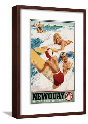 Newquay on the Cornish Coast Poster-Alfred Lambart-Framed Art Print