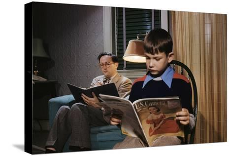 Father and Son Reading at Home-William P^ Gottlieb-Stretched Canvas Print