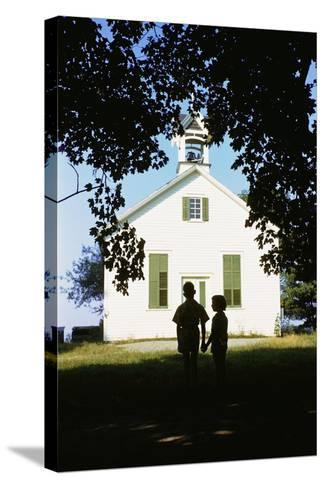 Boy and Girl Waiting Near Schoolhouse-William P^ Gottlieb-Stretched Canvas Print