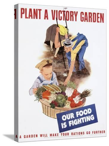 Plant a Victory Garden Poster--Stretched Canvas Print