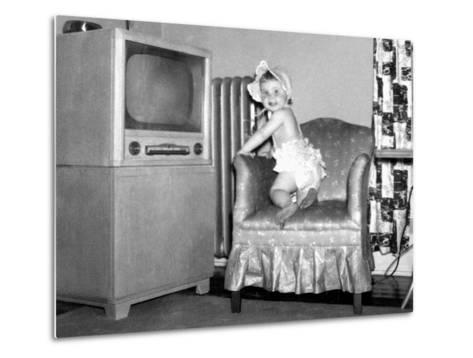 Baby Girl Wants to Watch Television, Ca. 1954--Metal Print