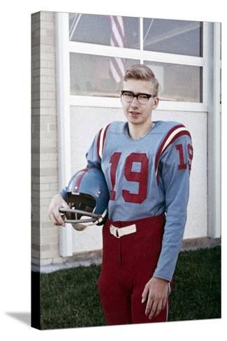 Fifteen Year Old High School Football Player Portrait Outside the School, Ca. 1961--Stretched Canvas Print
