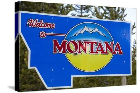 Welcome to Montana Sign-Paul Souders-Stretched Canvas Print