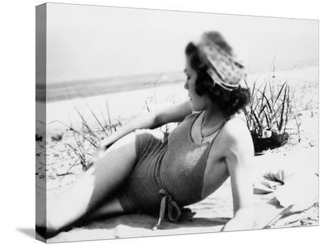 Young Woman at the Beach, Ca. 1938--Stretched Canvas Print