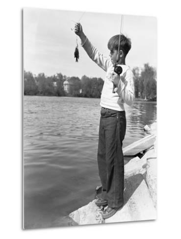 Boy Holding a Small Fish-Philip Gendreau-Metal Print