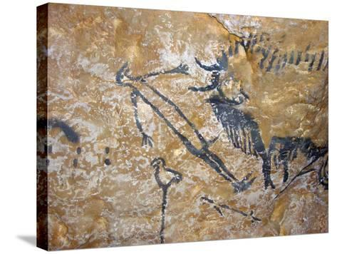 Cave Painting of Bird-Headed Man at Lascaux--Stretched Canvas Print