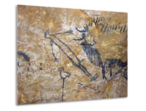 Cave Painting of Bird-Headed Man at Lascaux--Metal Print